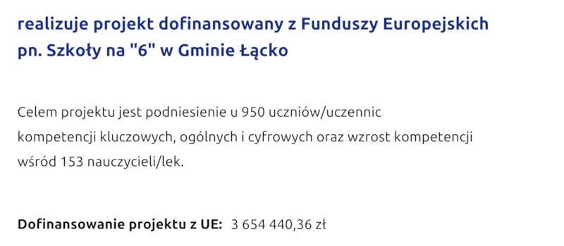 """""""Szkoły na""""6"""" w Gminie Łącko""""na rok szkolny 2021/2022"""